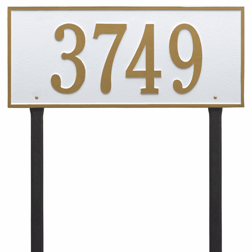 Hartford Estate Lawn One Line Plaque in White and Gold