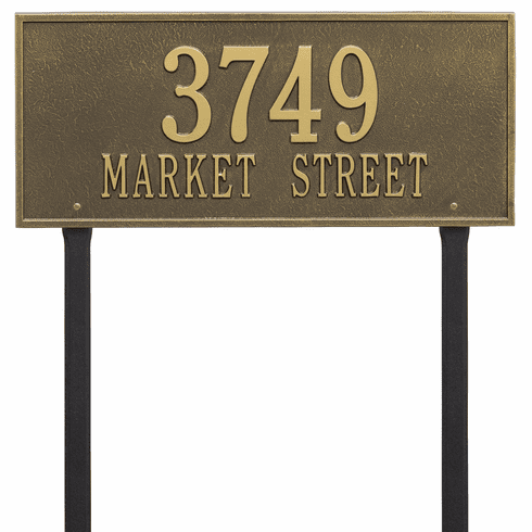 Hartford Estate Lawn Two Line Plaque in Antique Brass
