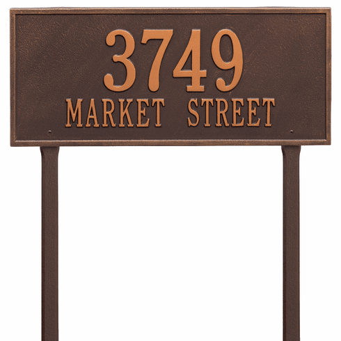Hartford Estate Lawn Two Line Plaque in Antique Copper