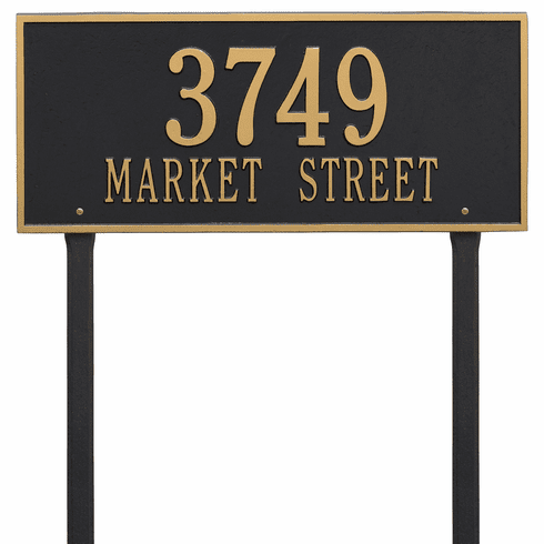 Hartford Estate Lawn Two Line Plaque in Black and Gold