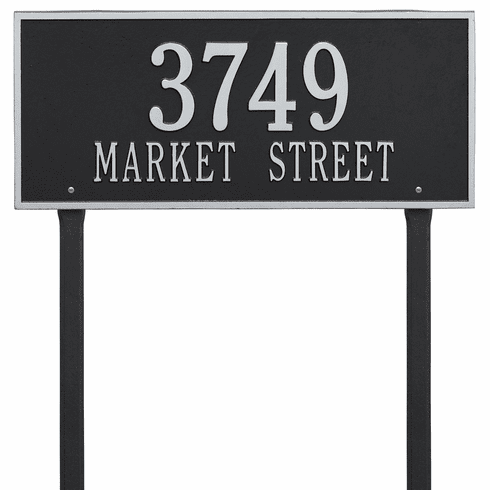 Hartford Estate Lawn Two Line Plaque in Black and Silver