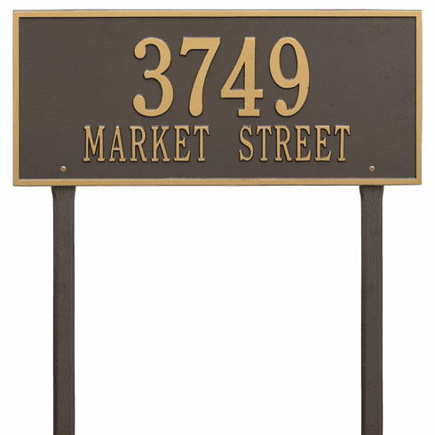Hartford Estate Lawn Two Line Plaque in Bronze and Gold