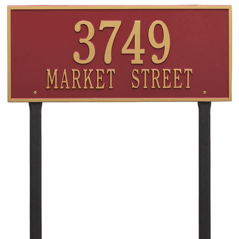 Hartford Estate Lawn Two Line Plaque in Red and Gold