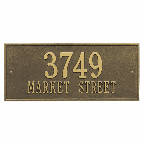 Hartford Estate Wall Two Line Plaque in Antique Brass