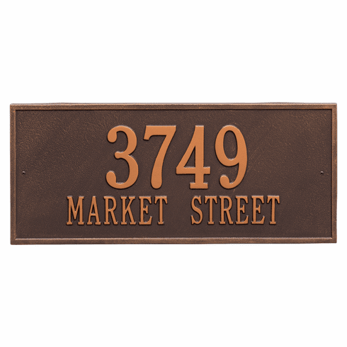 Hartford Estate Wall Two Line Plaque in Antique Copper