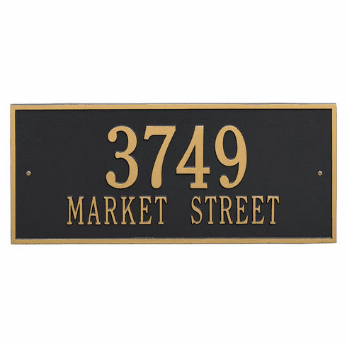 Hartford Estate Wall Two Line Plaque in Black and Gold