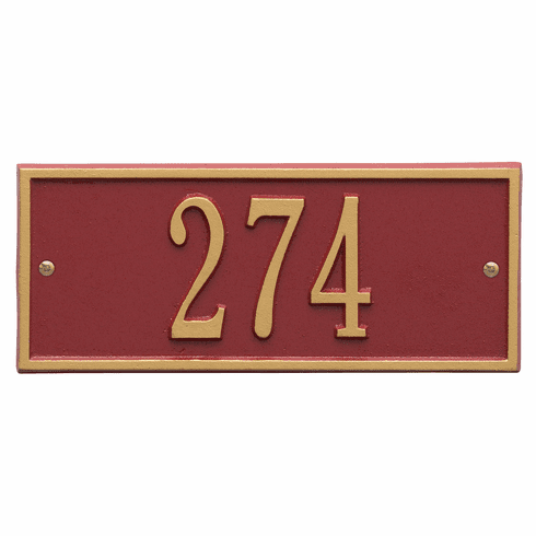 Hartford Mini Wall One Line Plaque in Red and Gold