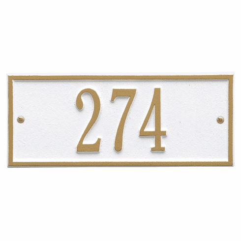 Hartford Mini Wall One Line Plaque in White and Gold