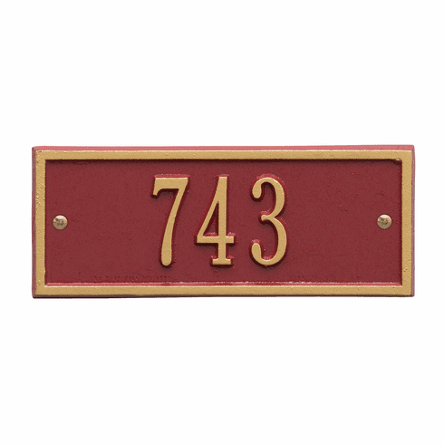 Hartford Petite Wall One Line Plaque in Red and Gold