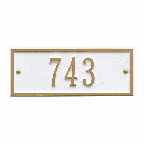 Hartford Petite Wall One Line Plaque in White and Gold