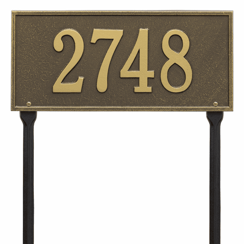 Hartford Standard Lawn One Line Plaque in Antique Brass