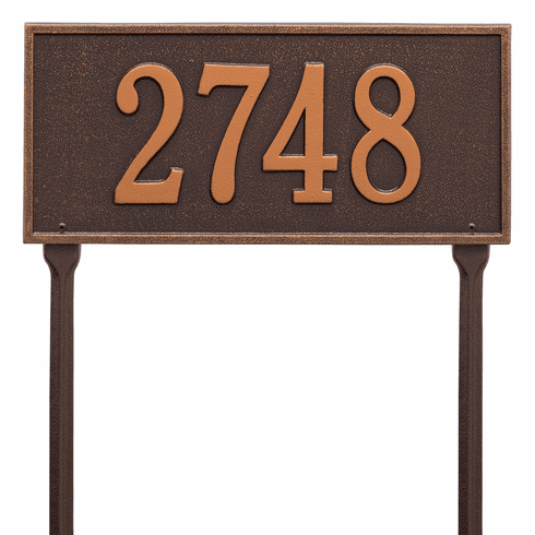 Hartford Standard Lawn One Line Plaque in Antique Copper