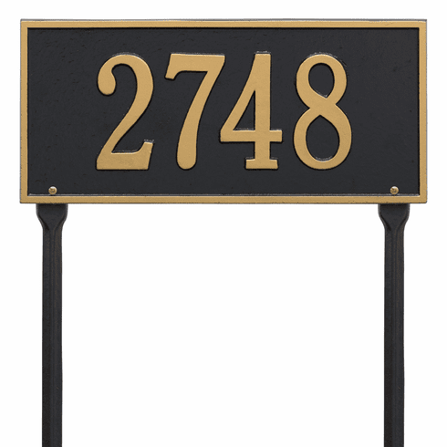 Hartford Standard Lawn One Line Plaque in Black and Gold