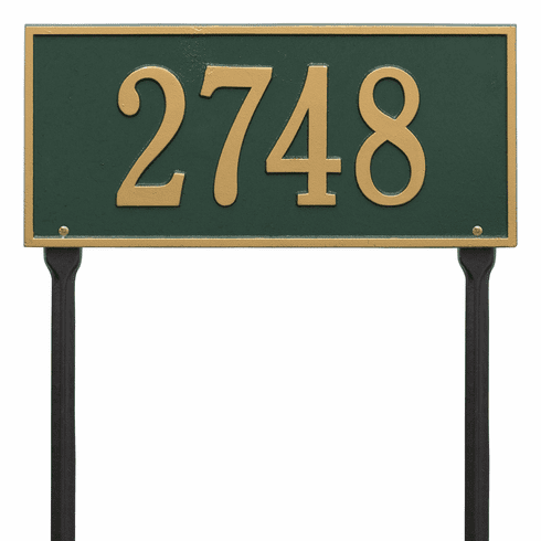 Hartford Standard Lawn One Line Plaque in Green and Gold