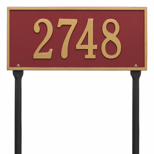 Hartford Standard Lawn One Line Plaque in Red and Gold