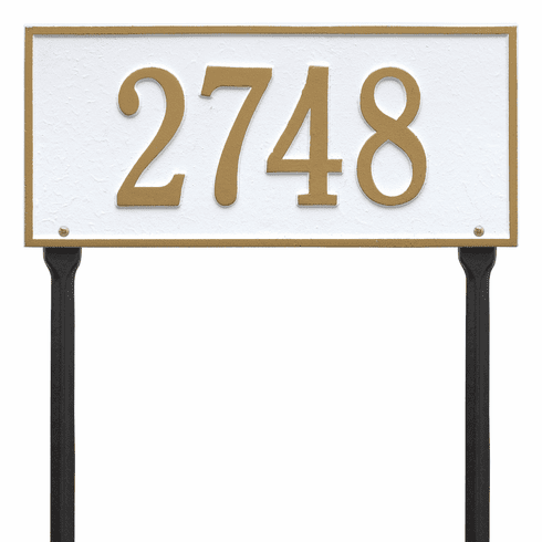 Hartford Standard Lawn One Line Plaque in White and Gold
