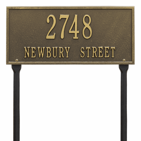 Hartford Standard Lawn Two Line Plaque in Antique Brass