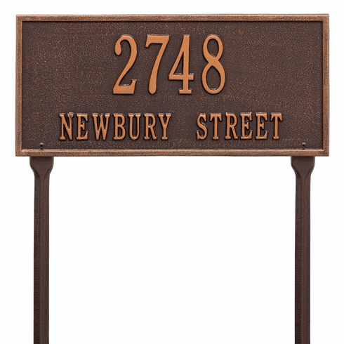 Hartford Standard Lawn Two Line Plaque in Antique Copper