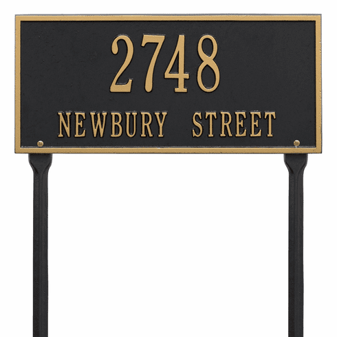 Hartford Standard Lawn Two Line Plaque in Black and Gold