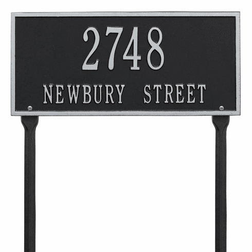 Hartford Standard Lawn Two Line Plaque in Black and Silver