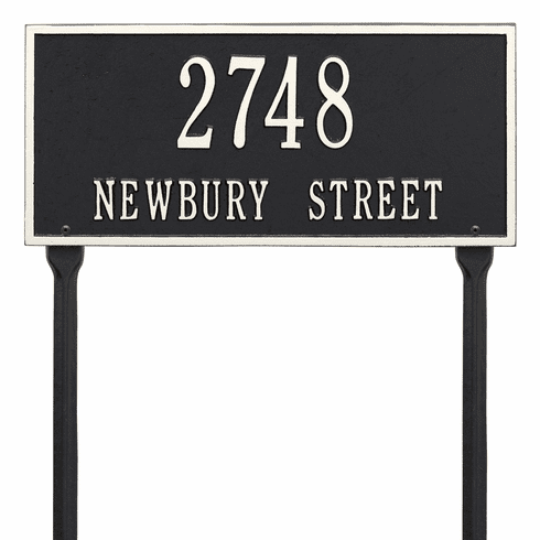 Hartford Standard Lawn Two Line Plaque in Black and White