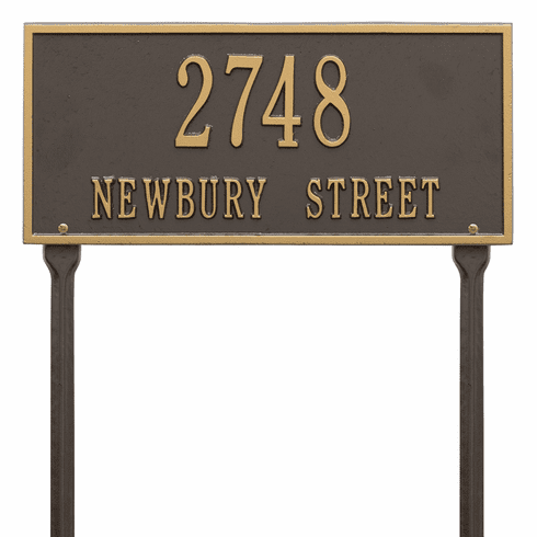 Hartford Standard Lawn Two Line Plaque in Bronze and Gold