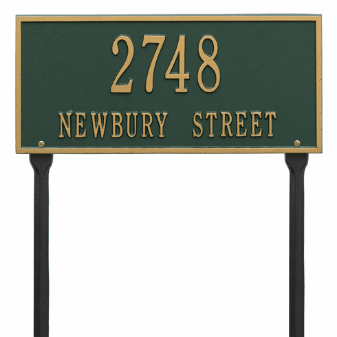 Hartford Standard Lawn Two Line Plaque in Green and Gold