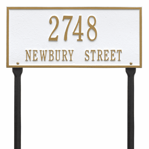 Hartford Standard Lawn Two Line Plaque in White and Gold