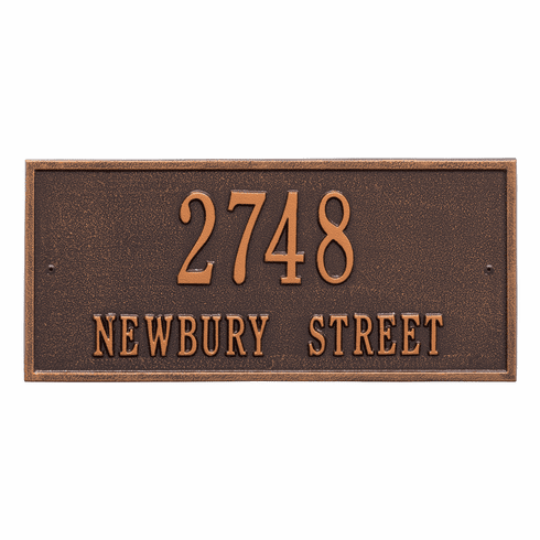 Hartford Standard Wall Two Line Plaque in Antique Copper