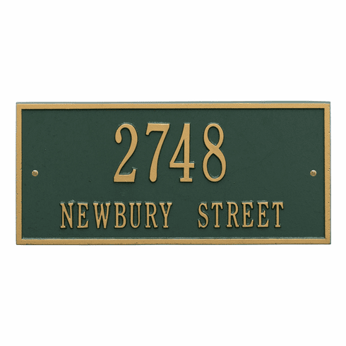 Hartford Standard Wall Two Line Plaque in Green and Gold