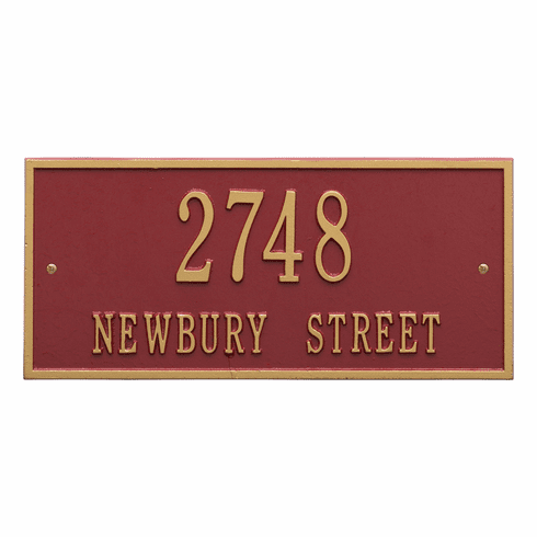 Hartford Standard Wall Two Line Plaque in Red and Gold