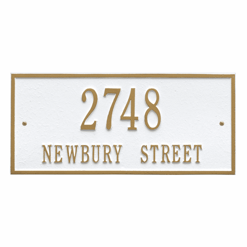 Hartford Standard Wall Two Line Plaque in White and Gold