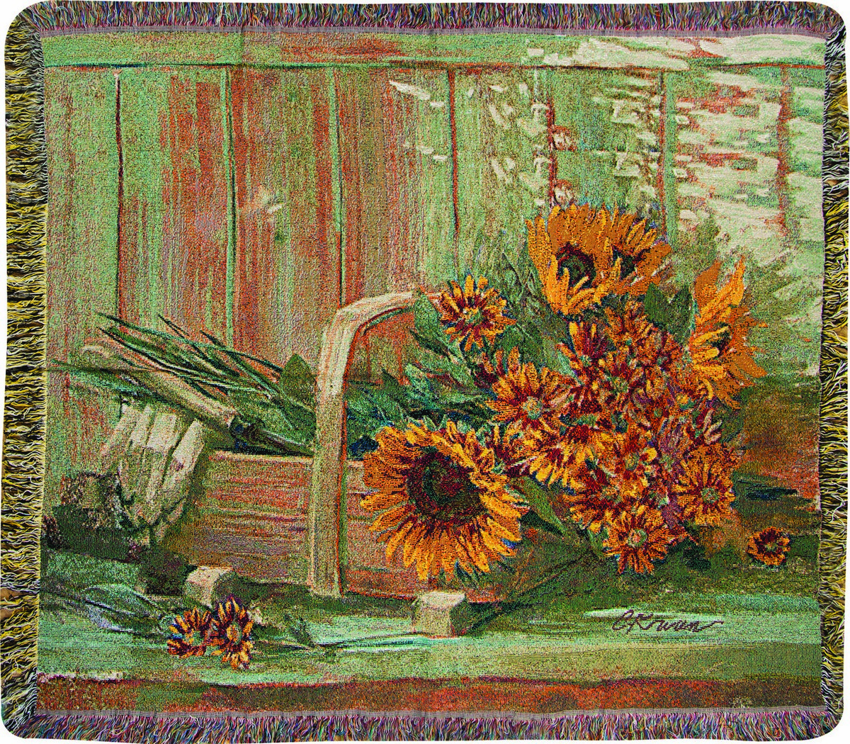 Harvest Moon Sunflowers Tapestry Throw