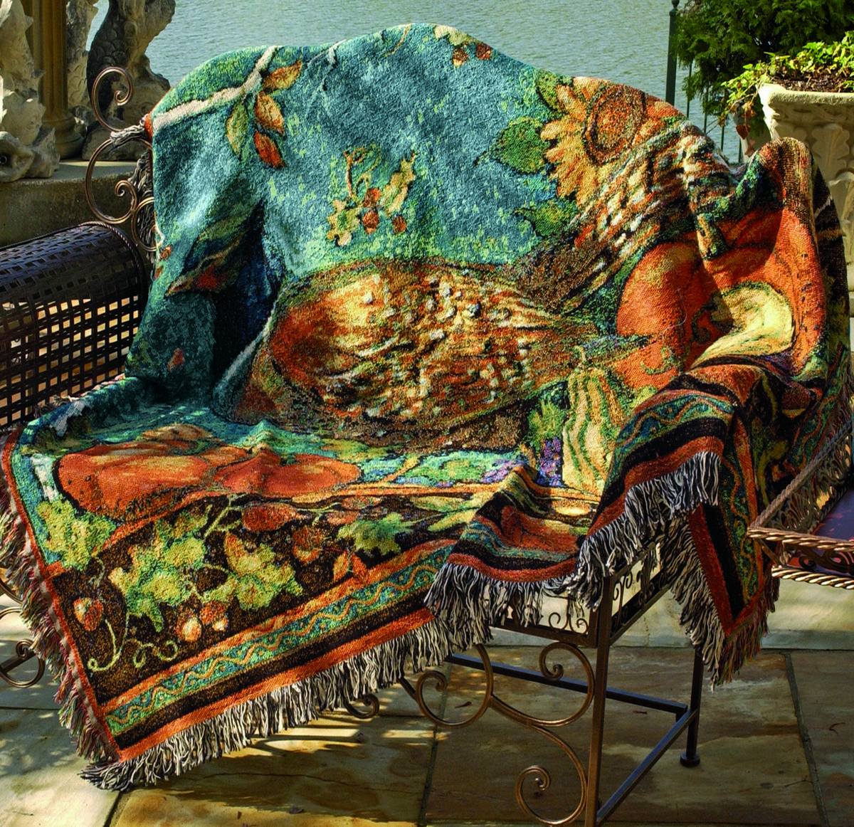 Harvest Pheasant Tapestry Throw