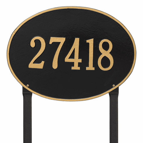 Hawthorne Oval Estate Lawn One Line Plaque in Black and Gold