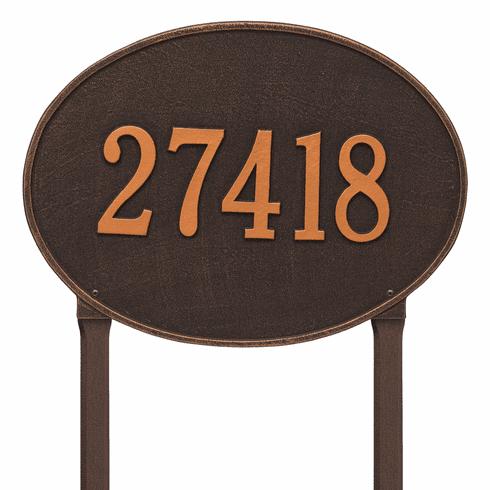 Hawthorne Oval Estate Lawn One Line Plaque in Oil Rubbed Bronze
