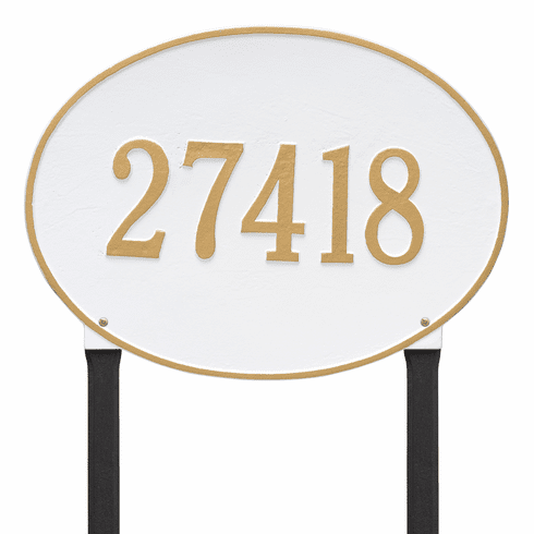 Hawthorne Oval Estate Lawn One Line Plaque in White and Gold