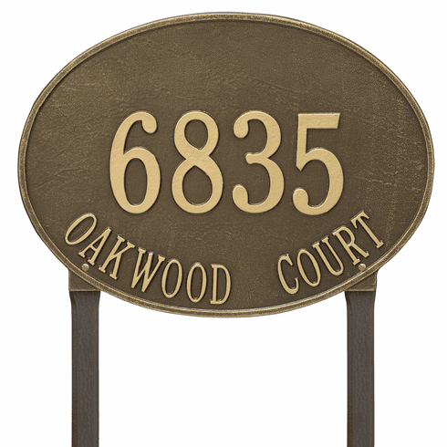 Hawthorne Oval Estate Lawn Two Line Plaque in Antique Brass