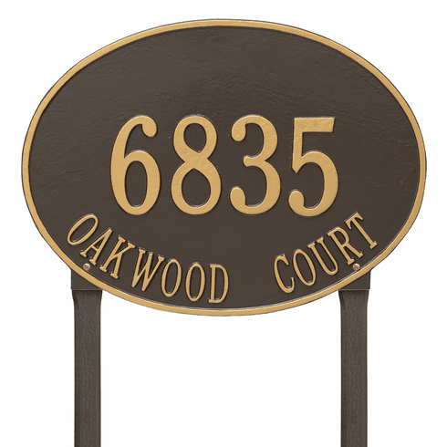 Hawthorne Oval Estate Lawn Two Line Plaque in Bronze and Gold