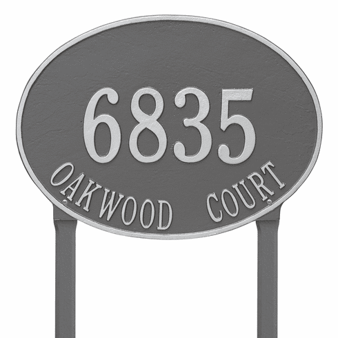 Hawthorne Oval Estate Lawn Two Line Plaque in Pewter and Silver