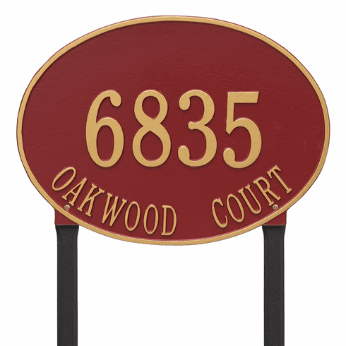 Hawthorne Oval Estate Lawn Two Line Plaque in Red and Gold