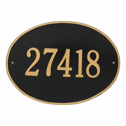 Hawthorne Oval Estate Wall One Line Plaque in Black and Gold