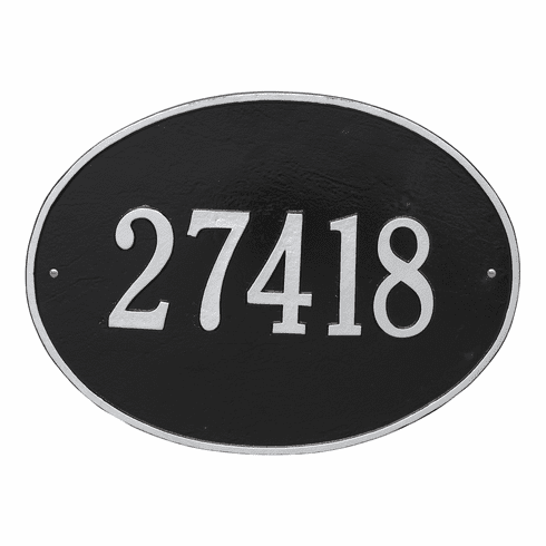 Hawthorne Oval Estate Wall One Line Plaque in Black and Silver