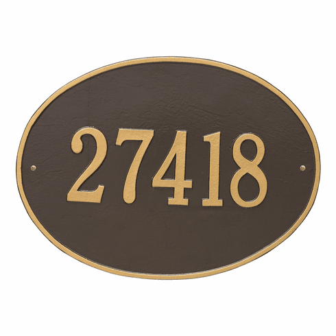 Hawthorne Oval Estate Wall One Line Plaque in Bronze and Gold