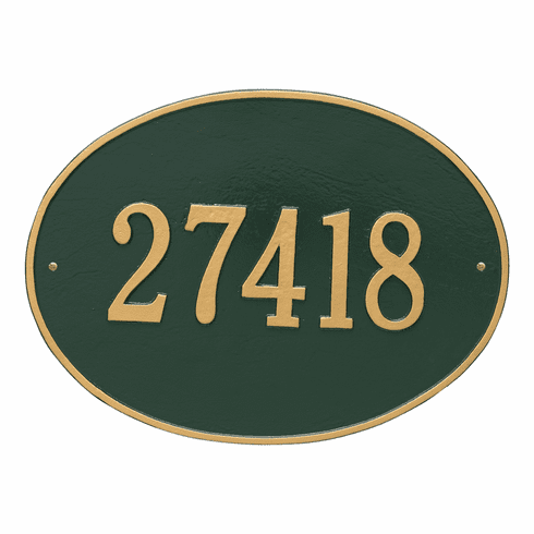 Hawthorne Oval Estate Wall One Line Plaque in Green and Gold