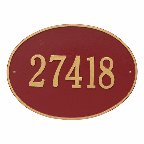 Hawthorne Oval Estate Wall One Line Plaque in Red and Gold