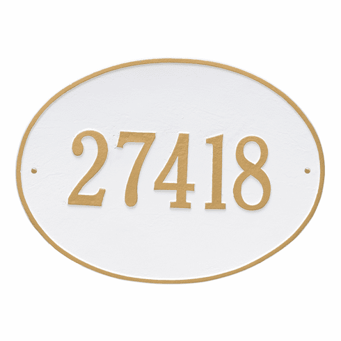 Hawthorne Oval Estate Wall One Line Plaque in White and Gold
