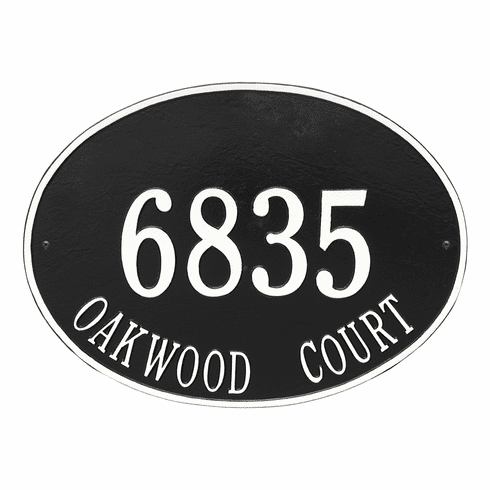 Hawthorne Oval Estate Wall Two Line Plaque in Black and White