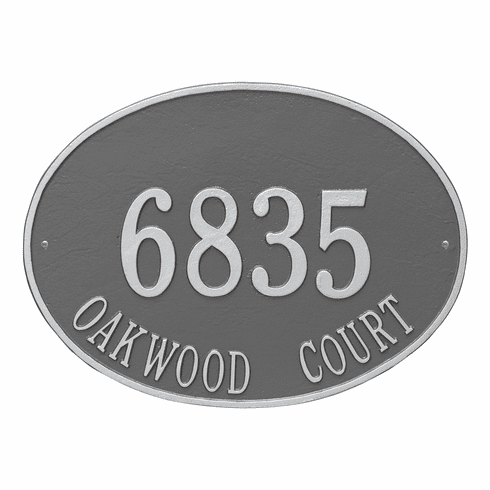 Hawthorne Oval Estate Wall Two Line Plaque in Pewter and Silver