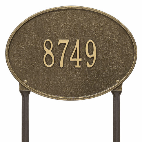 Hawthorne Oval Standard Lawn One Line Plaque in Antique Brass